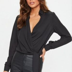 Missguided Tops - Black Wrap Over Tie-Side Blouse